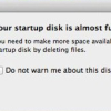 "Resolving the Error ""Your startup disk is almost full"" on Mac OS X"