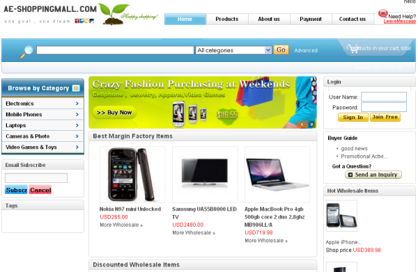 Beware of this Fraudulent Shopping Site