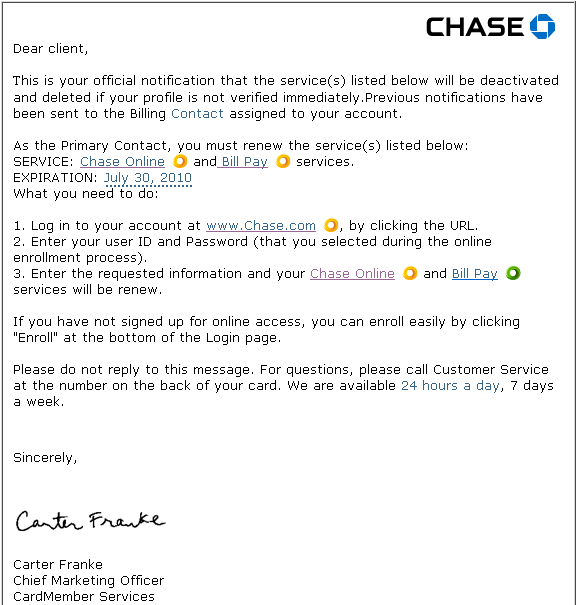 Chase bank will not send its