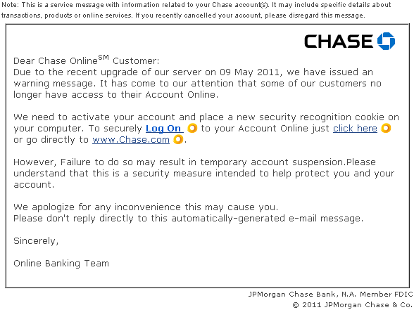 Chase Bank Security Recognition Scam