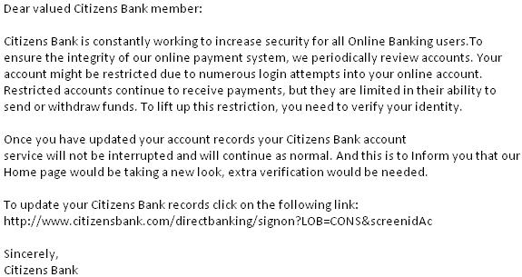 Citizen Bank Phishing Scam