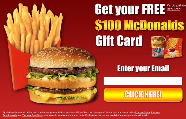 McDonalds Free Gift Card Phishing Scam