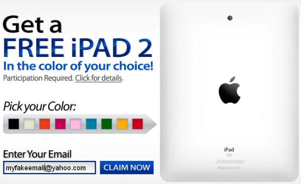 Yahoo iPad 2 Giveaway Scam