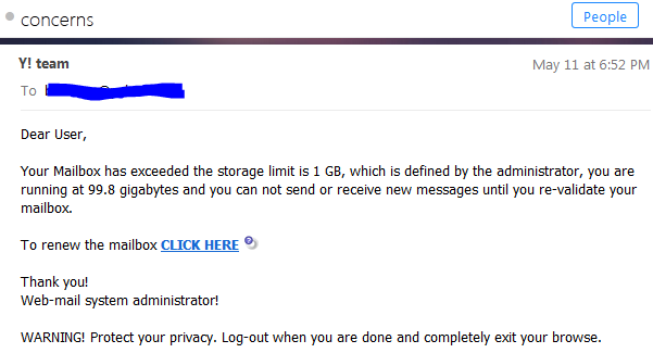 Yahoo Mailbox Exceeded Storage Notification Scam