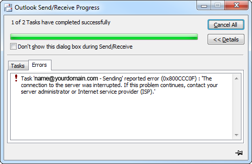 Outlook Sending Error 0x800ccc0f